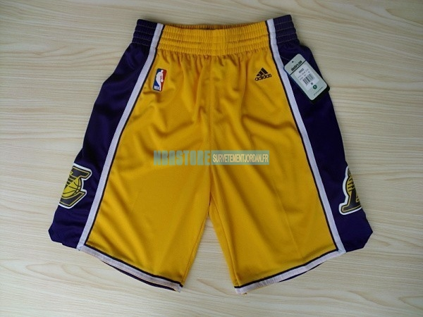 Short Basket Los Angeles Lakers Jaune 2018 Qualité 100%