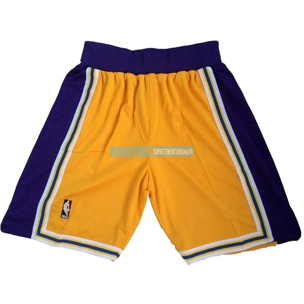 Short Basket Los Angeles Lakers Jaune Qualité 100%